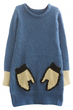 Womens Crewneck Long Sleeve Gloves Pocket Thick Pullover Sweater Blue