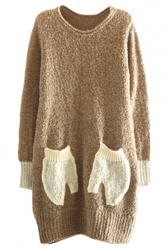 Womens Crewneck Long Sleeve Gloves Pocket Thick Pullover Sweater Khaki