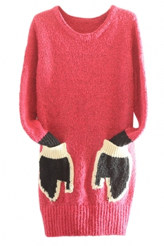 Womens Crewneck Long Sleeve Gloves Pocket Pullover Sweater Rose Red