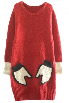 Womens Crewneck Long Sleeve Gloves Pocket Thick Pullover Sweater Ruby