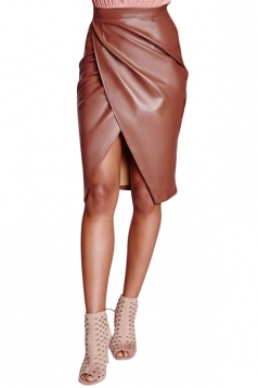 Womens Slit Front Draped PU Leather Splice Package Hip Skirt Coffee
