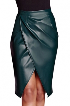 Womens Slit Front Draped PU Leather Splice Package Hip Skirt Green