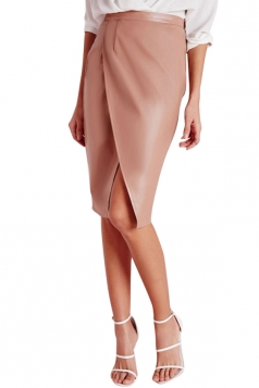 Womens Slit Front Draped PU Leather Splice Package Hip Midi Skirt Pink
