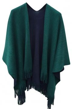 Womens Simple Fringe Shawl Wrap Poncho Green