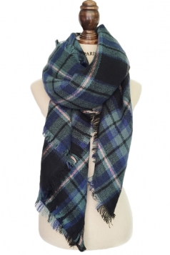 Womens Stylish Warm Plaid Pattern Big Square Scarf Shawl Green