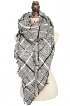 Womens Warm Cashmere Plaid Pattern Big Square Scarf Shawl Gray