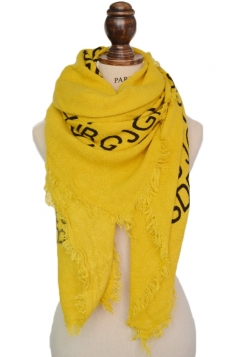 Womens Stylish Warm Letter Print Tassel Fringe Scarf Shawl Yellow