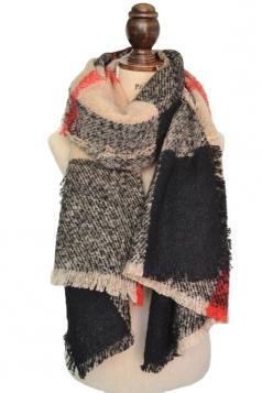 Womens Stylish Striped Tassel Fringe Loop Yarn Scarf Beige White
