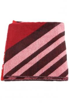 Womens Stylish Striped Fringed Thick Warm Cashmere Shawl Scarf Red