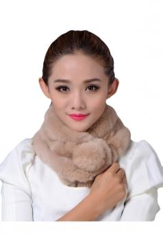 Womens Thick Warm Real Rex Rabbit Fur Ring Ball Scarf Khaki
