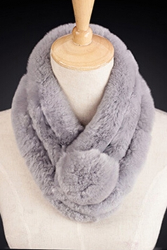 Womens Thick Warm Real Rex Rabbit Fur Ring Ball Scarf Light Gray