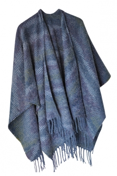 Womens Vintage Fringed Stripe Patterned Shawl Scarf Blue