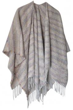 Womens Vintage Fringed Stripe Patterned Shawl Scarf Beige White