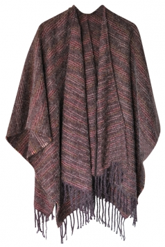 Womens Vintage Fringed Stripe Patterned Shawl Scarf Purple