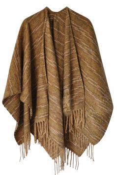 Womens Vintage Fringed Stripe Patterned Shawl Scarf Yellow