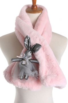 Womens Plain Stylish Rabbit Decoration Faux Fur Scarf Pink