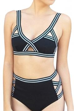 Womens Striped High Waisted Cut Out Bikini Top & Swimwear Bottom Black