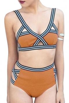 Womens Striped High Waist Cut Out Bikini Top & Swimwear Bottom Yellow