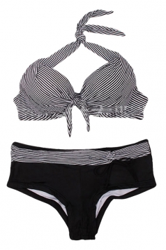 Womens Fashion Striped Halter Bikini Top & Swimwear Bottom Black