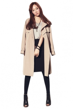Womens Fashion Casual Lapel Long Trench Coat Khaki