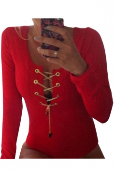 Womens Sexy Deep V Neck Lace Up Long Sleeve Bodysuit T-shirt Red