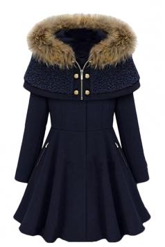Womens Stylish Hooded Long Sleeve Spliced Wool Coat Navy Blue