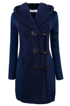 Womens Slim Plain Long Sleeve Hooded Horns Deduction Woolen Coat Blue