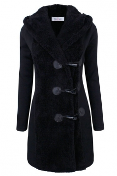 Womens Slim Plain Long Sleeve Hooded Horns Deduction Woolen Coat Black