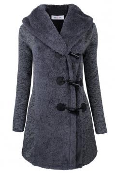 Womens Slim Plain Long Sleeve Hooded Horns Deduction Woolen Coat Gray