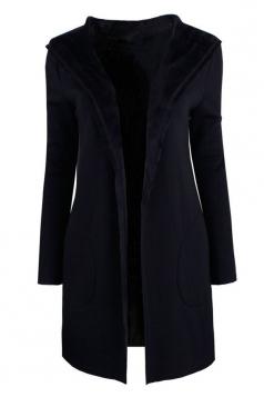 Womens Plain Long Sleeve Knit Hooded Pocket Cardigan Coat Black