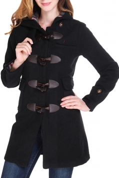 Womens Plain Hooded Horns Deduction Medium-long Woolen Coat Black