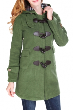 Womens Plain Hooded Horns Deduction Medium-long Woolen Coat Green