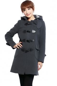 Womens Plain Hooded Horns Deduction Medium-long Woolen Coat Gray