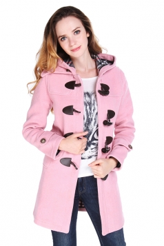 Womens Plain Hooded Horns Deduction Medium-long Woolen Coat Pink