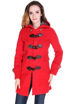 Womens Plain Hooded Horns Deduction Medium-long Woolen Coat Red