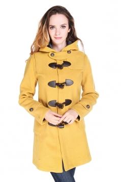 Womens Plain Hooded Horns Deduction Medium-long Woolen Coat Yellow