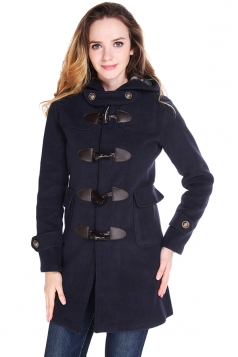 Womens Plain Hooded Horns Deduction Medium-long Woolen Coat Navy Blue