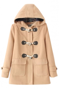 Womens Plain Horns Deduction Hooded Medium-long Woolen Coat Khaki