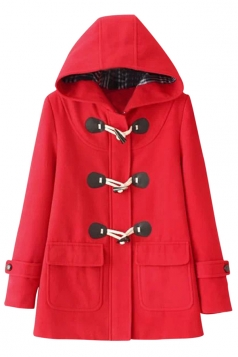 Womens Plain Horns Deduction Hooded Medium-long Woolen Coat Red