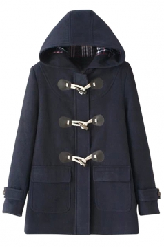 Womens Plain Horns Deduction Hooded Medium-long Woolen Coat Navy Blue