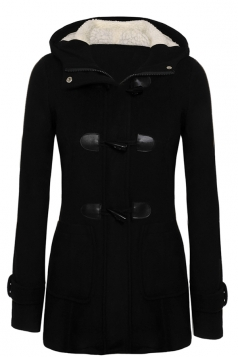 Womens Plain Hooded Long Sleeve Pocket Horns Deduction Slim Coat Black