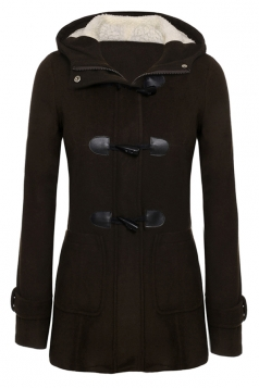 Womens Plain Hooded Long Sleeve Pocket Horns Deduction Slim Coat Brown