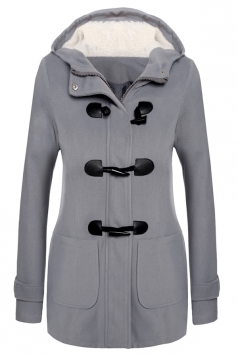 Womens Plain Hooded Long Sleeve Pocket Horns Deduction Slim Coat Gray