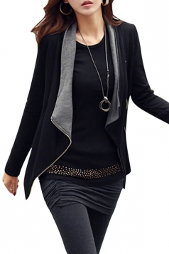 Womens Long Sleeve Color Block Side Zipper Casual Jacket Dark Gray