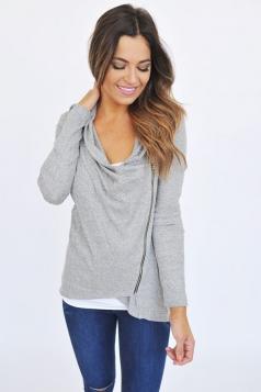 Womens Long Sleeve Oblique Zip Turtleneck Coat Light Gray