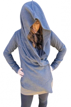 Womens Plain Long Sleeve Hooded One Buckle Design Jacket Gray