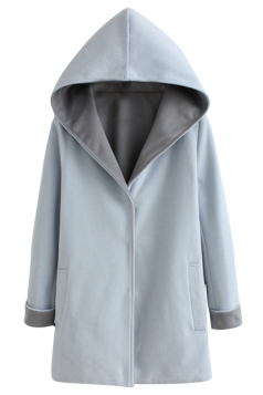 Womens Plus Size Long Sleeve Reversible Hooded Loose Overcoat Blue
