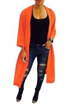Womens Plain 3/4 Length Sleeve Split Back Asymmetric Cardigan Orange