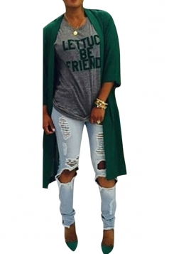 Womens Plain 3/4 Length Sleeve Split Back Asymmetric Cardigan Green