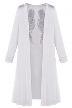 Womens Plain Long Sleeve Rhinestone Angel Wings Decor Cardigan White